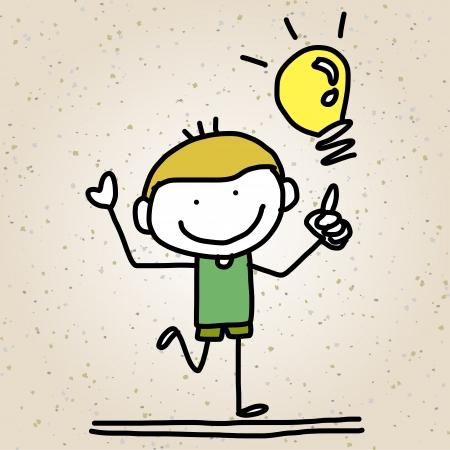 belles jambes: dessin � la main cartoon enfants heureux de jouer Illustration