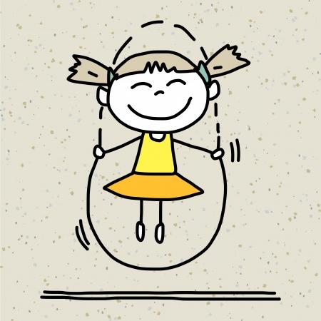 nice smile: hand drawing cartoon happy kids playing
