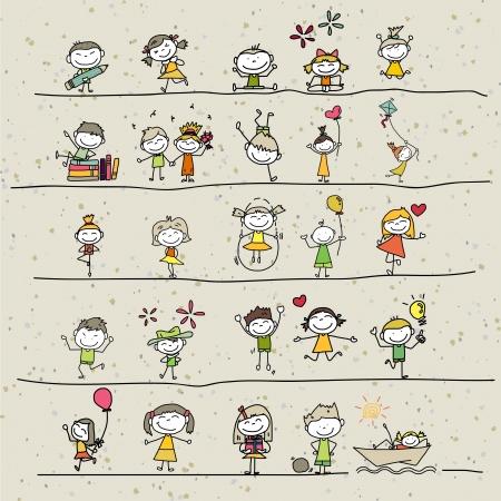 bimbi che giocano: disegno a mano cartoon bambini felici che giocano