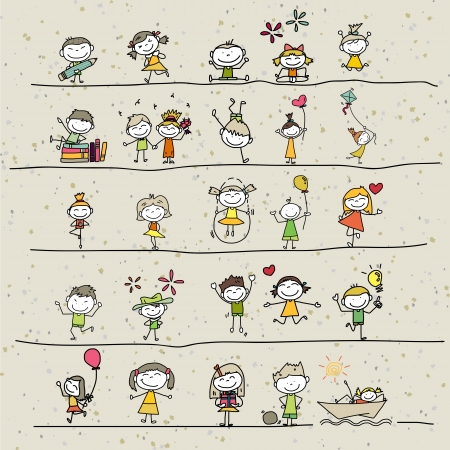hand drawing cartoon happy kids playing Stok Fotoğraf - 21397070