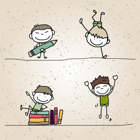 Hand tekening cartoon gelukkige kinderen spelen