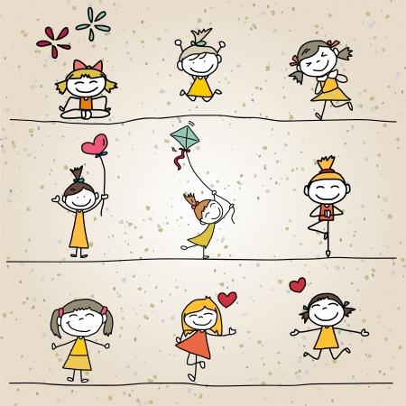 animate: hand drawing cartoon happy kids playing