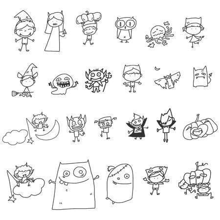 vector schets halloween stripfiguur Stock Illustratie