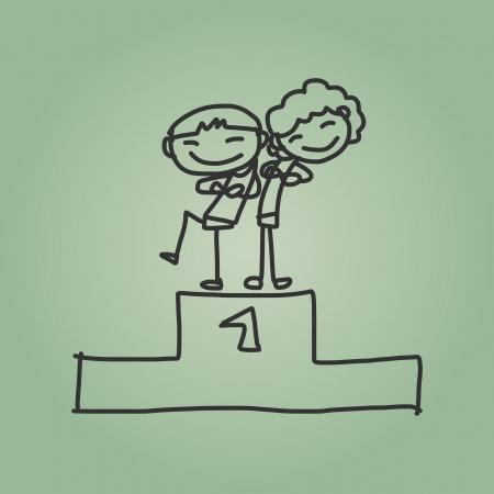niños saliendo de la escuela: dibujo a mano de dibujos animados de nuevo a la escuela