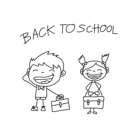 cartoon hand drawing back to school Illustration