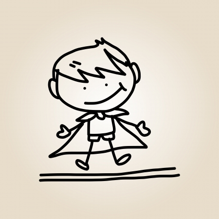 superboy: hand drawing cartoon happy kids playing