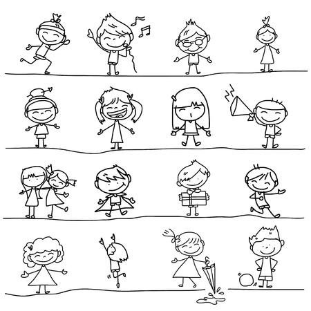 lijntekening: de hand tekening cartoon gelukkige kinderen spelen Stock Illustratie