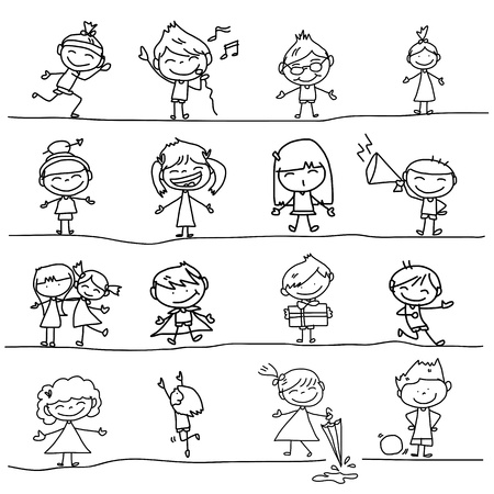 hand drawing cartoon happy kids playing 向量圖像