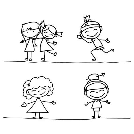 hand drawing cartoon happy kids playing Иллюстрация