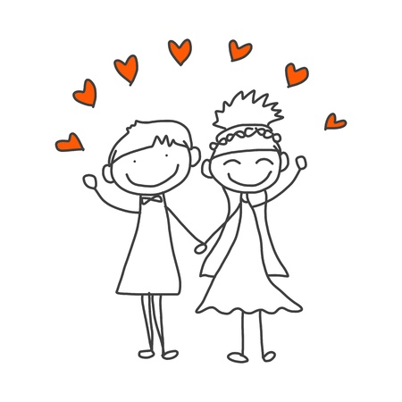 hand drawing cartoon happy wedding couple