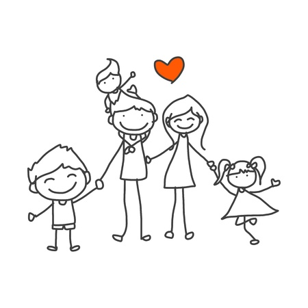 active family: hand drawing cartoon happy family playing