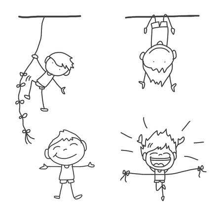 hand drawing cartoon happy kids playing Illustration