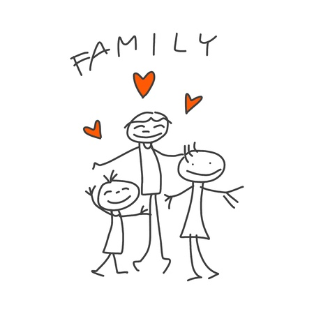 hand drawing cartoon happy family with dad Иллюстрация