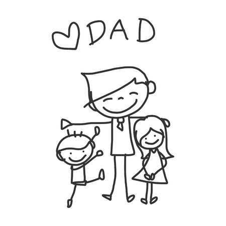 hand drawing cartoon happy family Vector