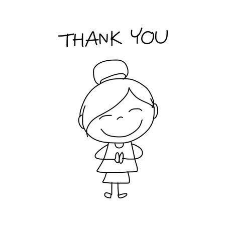 dank u: hand tekenen stripfiguur gelukkig leven Stock Illustratie
