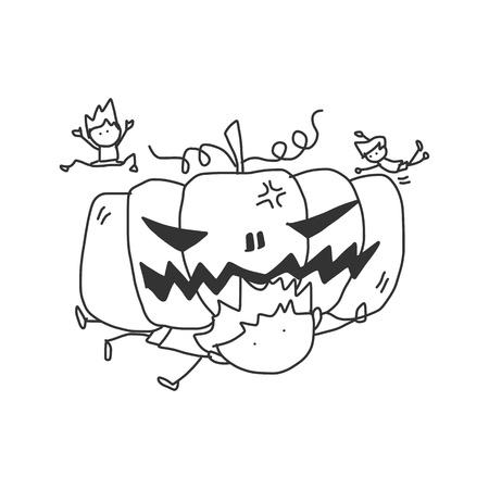 hand drawing cartoon halloween monster Vector