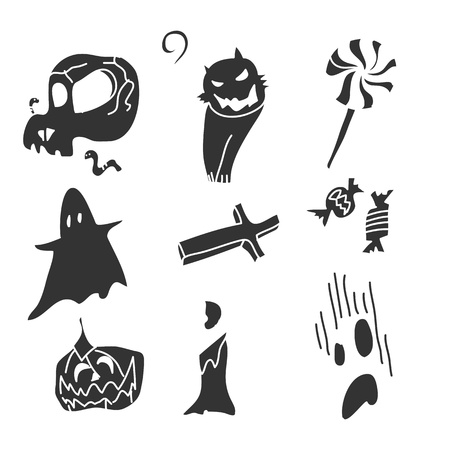death s head: hand drawing black and white cartoon halloween Illustration