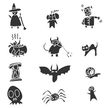 hand drawing black and white cartoon halloween Vector
