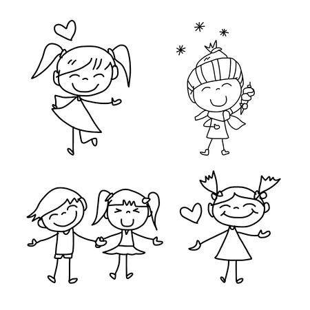 dibujos lineales: de dibujos animados dibujo de la mano niños felices jugando