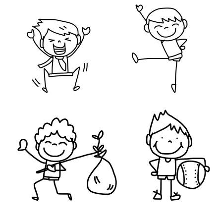 dibujos lineales: gráfico de la mano Caricatura de niños felices jugando Vectores