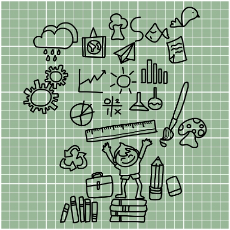 cartoon hand drawing back to school on graph paper Vector