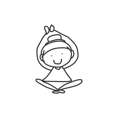 hand drawing cartoon happy people yoga Vector