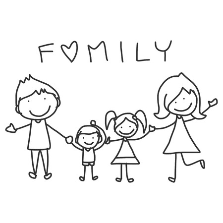 familia animada: mano dibujo dibujos animados feliz vida feliz de la familia