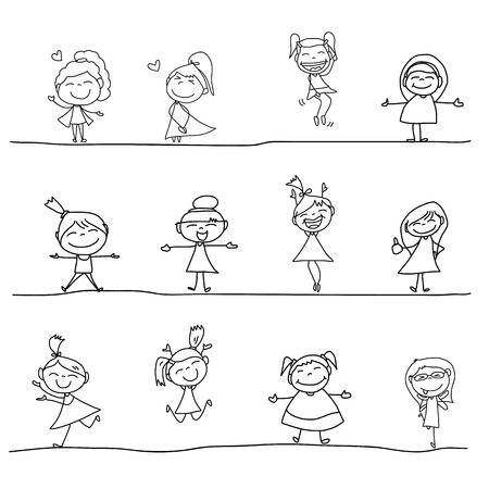 group hug: hand drawing cartoon character happy people