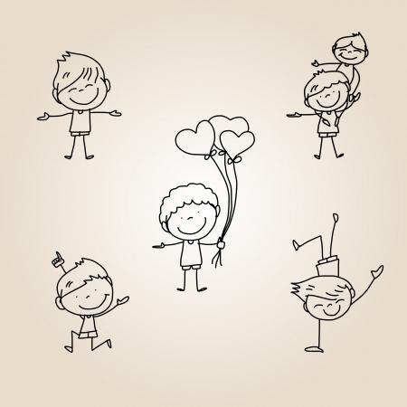 Disegno a mano dei cartoni animati bambini felici che giocano Archivio Fotografico - 22593264