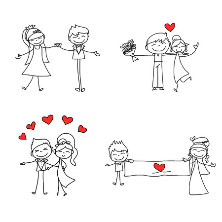 drawing cartoon: hand drawing cartoon character happy lovers wedding