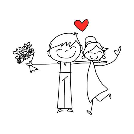 手の描画の漫画キャラクター幸せな恋人たちの結婚式