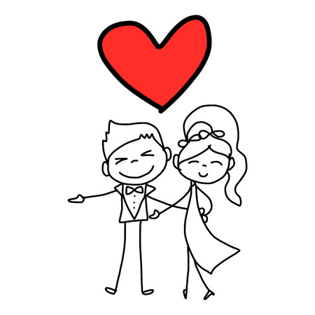hand drawing cartoon character happy lovers wedding Vector