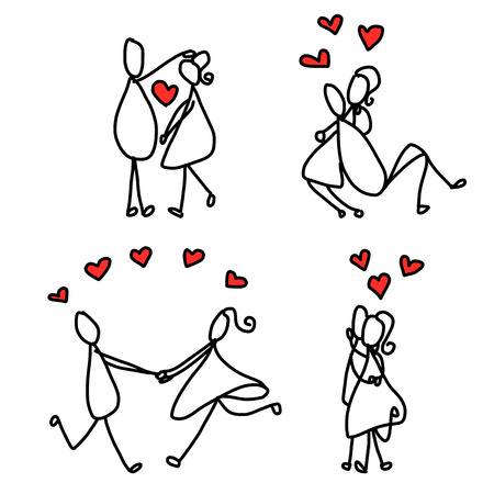 set of hand drawing cartoon character happy lovers wedding Vector