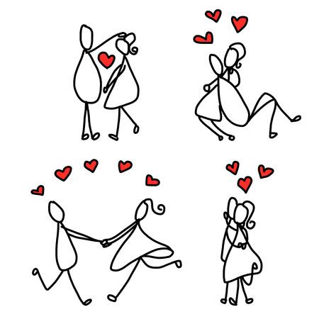 set van de hand cartoon tekening karakter gelukkige geliefden bruiloft Stock Illustratie