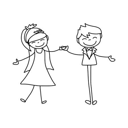 hand drawing cartoon character happy lovers wedding Vector