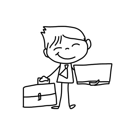 hand drawing cartoon character happy business person Vector