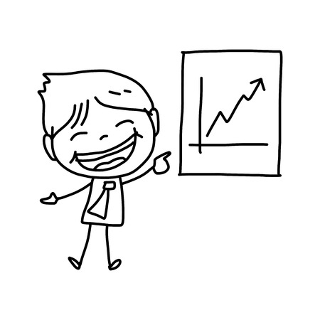 buisnessman: hand drawing cartoon character happy business person