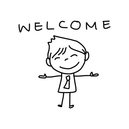 de hand tekening cartoon karakter blij zakelijke persoon Stock Illustratie