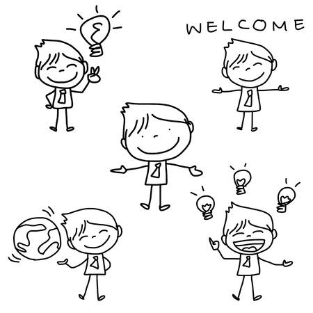 hand tekening stripfiguur happy zakelijke persoon