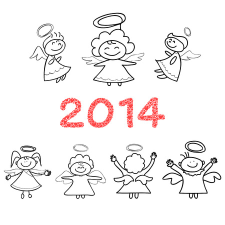 cartoon new: cartoon new year angels Illustration