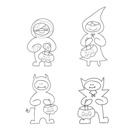 set of hand drawing cartoon character halloween Vector