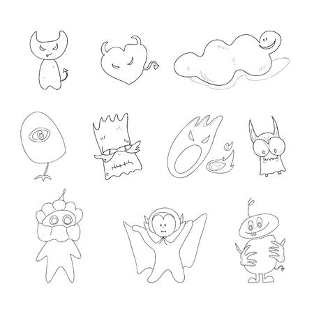 set of hand drawing cartoon character halloween