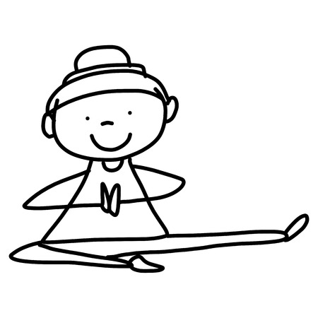 cartoon character hand drawing woman practicing yoga Vector