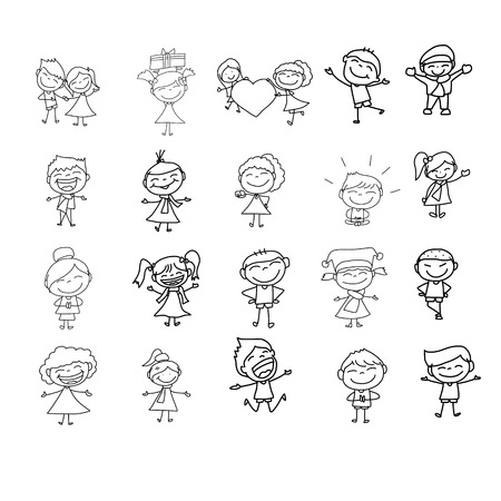 hand drawing cartoon character happy life Vector
