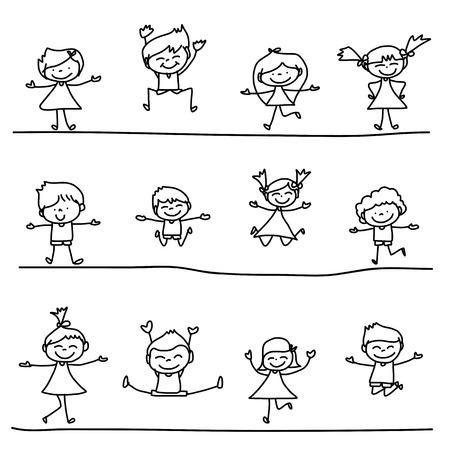 de hand tekening cartoon karakter gelukkig leven Stock Illustratie