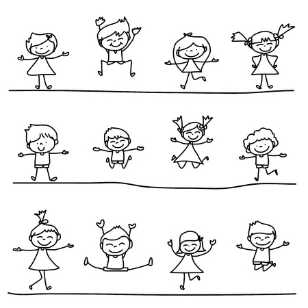 drawing cartoon: hand drawing cartoon character happy life