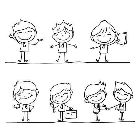 business person: hand drawing cartoon character happy business person
