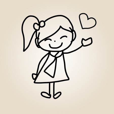 hand drawing cartoon character happy life Vector