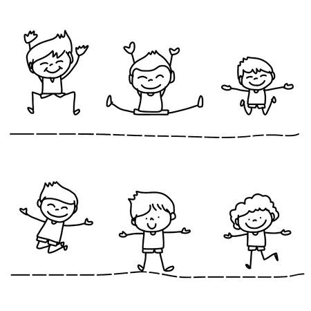 描画の漫画キャラクターの幸せな生活を手します。  イラスト・ベクター素材