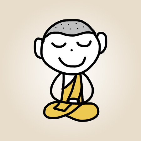 hand drawing cartoon character happy life meditation Vector